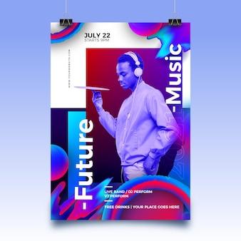 Plantilla de cartel de evento deportivo abstracto para 2021 con foto