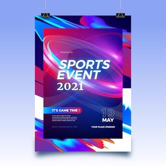 Plantilla de cartel de evento deportivo abstracto para 2021
