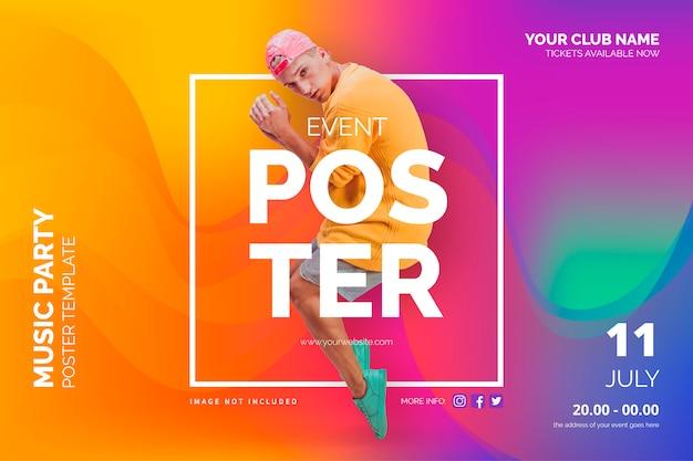 Plantilla de cartel de evento con formas abstractas