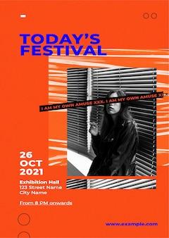 Plantilla de cartel de evento de moda con fondo de color retro para el concepto de influencers de moda y tendencias