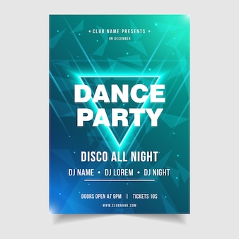 Plantilla de cartel de evento de música de noche de fiesta de baile