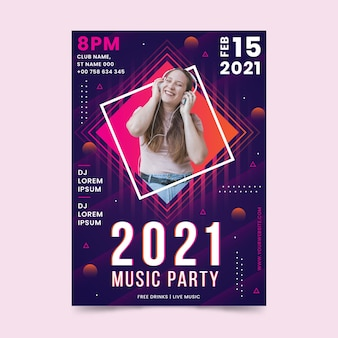 Plantilla de cartel de evento musical 2021 en estilo memphis