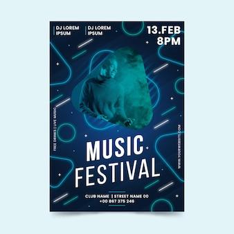Plantilla de cartel de evento musical 2021 con foto