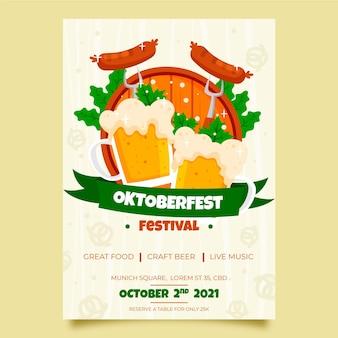 Plantilla de cartel de evento de oktoberfest dibujado a mano