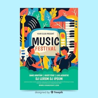 Plantilla de cartel de fest de música dibujada a mano