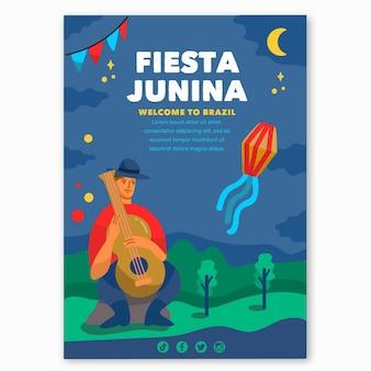 Plantilla de cartel de festa junina dibujada a mano