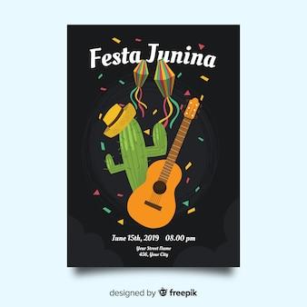Plantilla de cartel de festa junina dibujado a mano