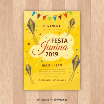 Plantilla de cartel de festa junina flat