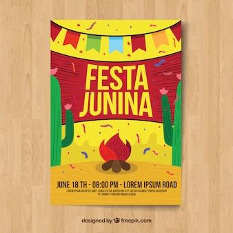 Plantilla de cartel para festa junina