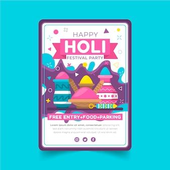 Plantilla de cartel de festival holi plano
