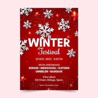 Plantilla de cartel de festival de invierno