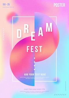 Plantilla de cartel de festival de música abstracta con degradados y formas abstractas