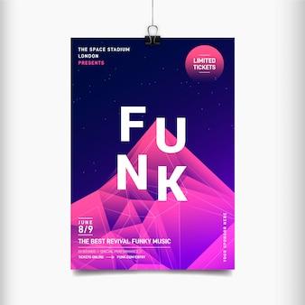 Plantilla de cartel de festival de música abstracta funk