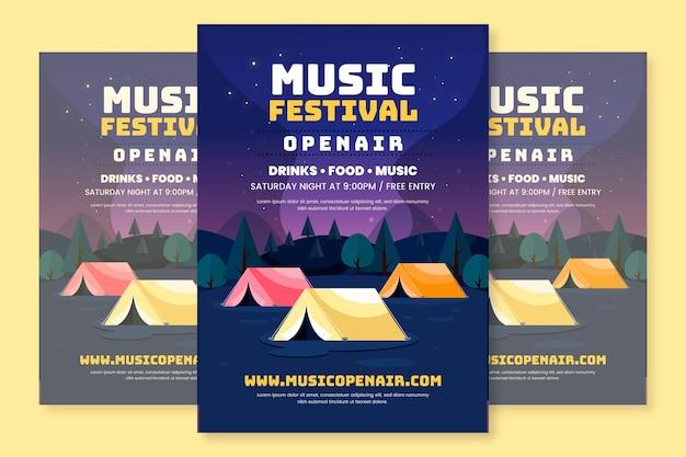 Plantilla de cartel de festival de música al aire libre de diseño plano