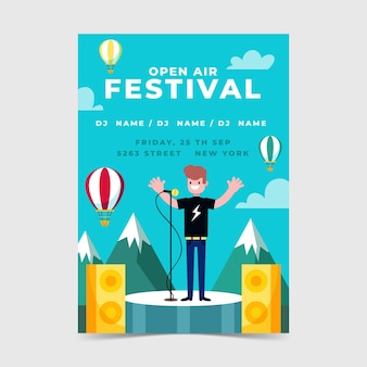 Plantilla de cartel de festival de música al aire libre con hombre