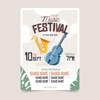 Plantilla de cartel de festival de música al aire libre