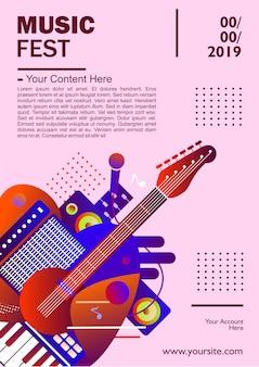Plantilla de cartel del festival de música, colorido. ilustración
