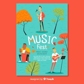 Plantilla de cartel del festival de música dibujada a mano