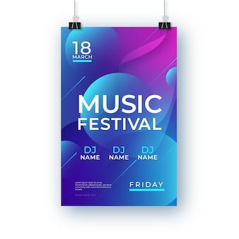 Plantilla de cartel de festival de música dibujado a mano