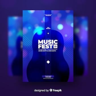 Plantilla de cartel para festival de música. diseño abstracto y colorido