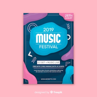 Plantilla de cartel festival de música con efecto líquido.