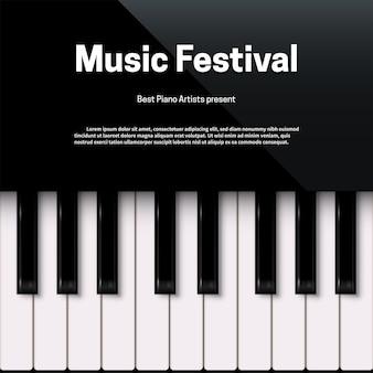 Plantilla de cartel de festival de música con espacio de texto