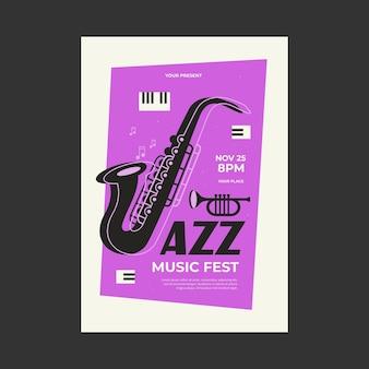 Plantilla de cartel de festival de música de jazz ilustración de vector de trompeta de piano de saxofón