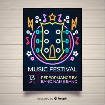 Plantilla de cartel festival de música luces de neón estilo