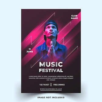 Plantilla de cartel de festival de música moderna plantilla de vector premium
