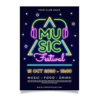 Plantilla de cartel de festival de música de neón