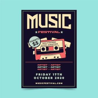 Plantilla de cartel de festival de música retro