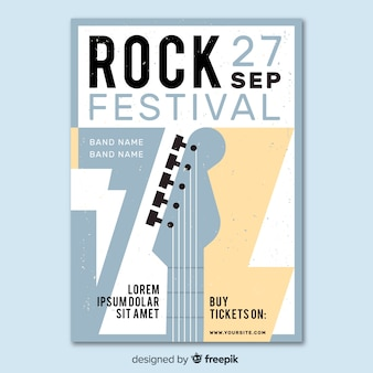 Plantilla de cartel de festival de música rock retro