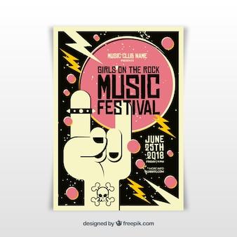 Plantilla de cartel de festival de música rock