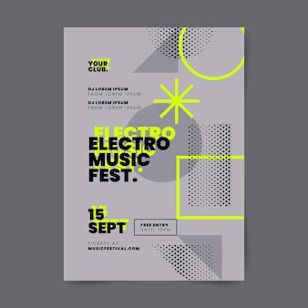 Plantilla de cartel de festival de música vertical abstracto degradado