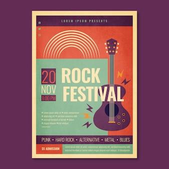 Plantilla de cartel del festival de rock retro con guitarra eléctrica