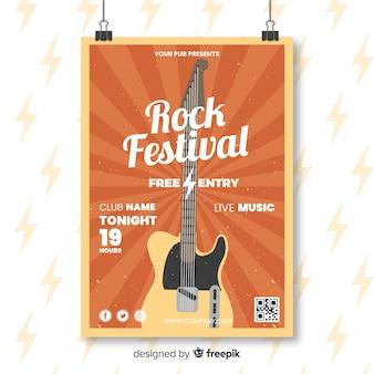 Plantilla de cartel de festival de rock retro