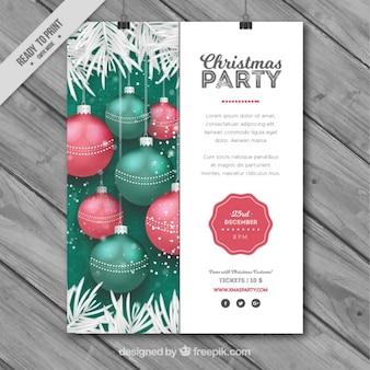Plantilla de cartel festivo con bolas realistas para navidad