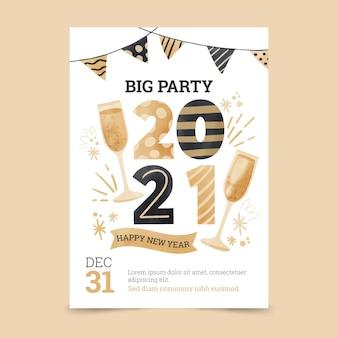Plantilla de cartel de fiesta acuarela año nuevo 2021