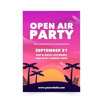 Plantilla de cartel de fiesta al aire libre