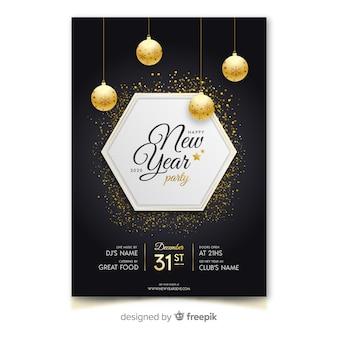 Plantilla de cartel de fiesta de año nuevo 2020 de diseño plano