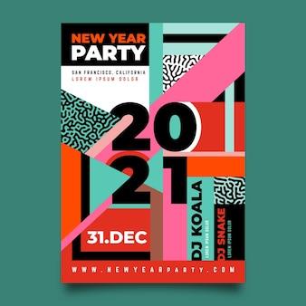 Plantilla de cartel de fiesta de año nuevo 2021 dibujado a mano