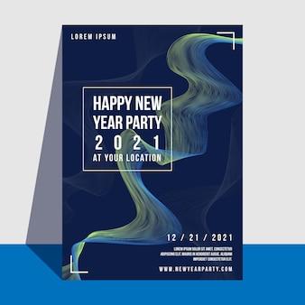 Plantilla de cartel de fiesta de año nuevo 2021 de diseño plano