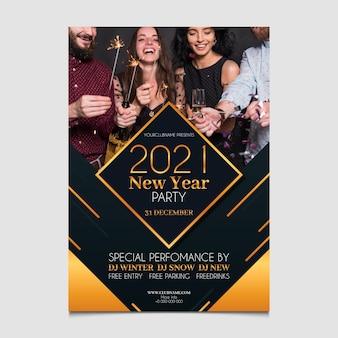 Plantilla de cartel de fiesta de año nuevo 2021 con foto