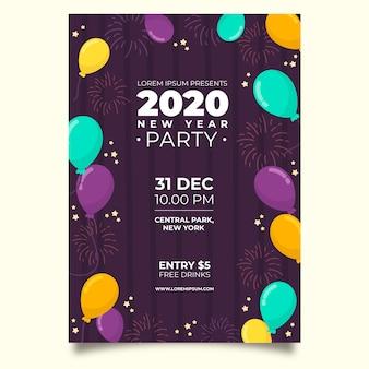 Plantilla de cartel de fiesta de año nuevo dibujado a mano