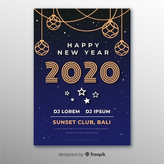 Plantilla de cartel de fiesta de año nuevo de diseño plano