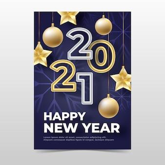 Plantilla de cartel de fiesta de año nuevo dorado 2021