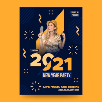 Plantilla de cartel de fiesta de año nuevo con foto