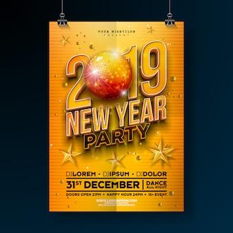 Plantilla de cartel de fiesta de año nuevo con número 3d 2019