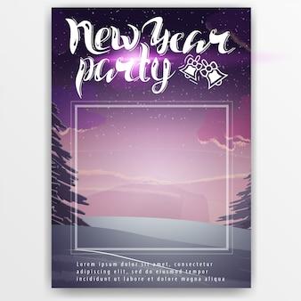 Plantilla de cartel para una fiesta de año nuevo.