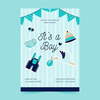 Plantilla de cartel de fiesta de baby shower en plano